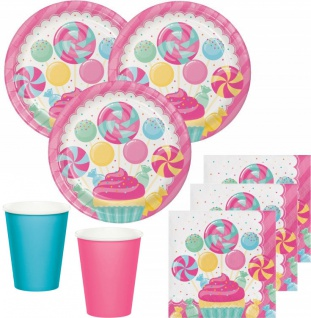 48 Teile Party Deko Set Rosa Lollie Candybar für 16 Personen