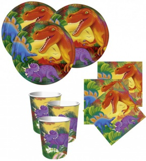 48 Teile Dinosaurier Party Deko Basis Set für 16 Kinder