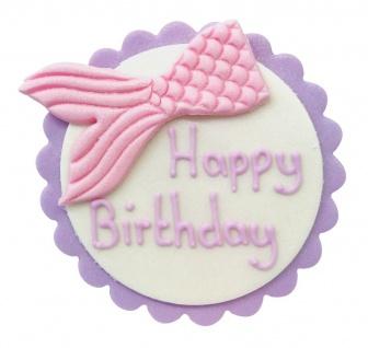 Meerjungfrau Zucker Plakette Happy Birthday 7, 5 cm