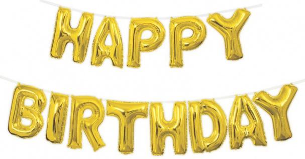 XXL DIY Happy Birthday Buchstaben Ballon Girlande Gold 4, 2 Meter lang