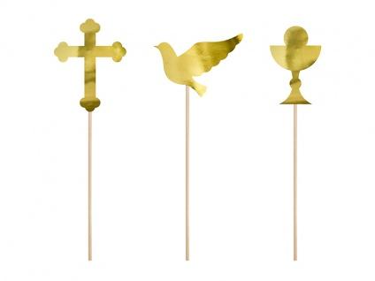 3 goldene Torten oder Blumen Stecker Kreuz Taube Kelch DIY