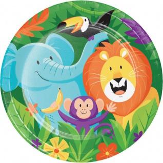 8 Papp Teller fröhliche Dschungel Party