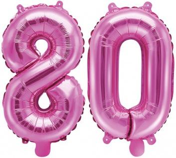 Folienballons Zahl 80 Pink Metallic 35 cm