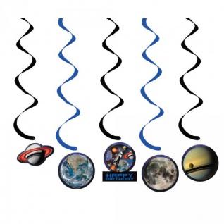 5 hängende Girlanden Weltraum Mission