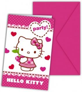 6 Hello Kitty Hearts Einladungskarten