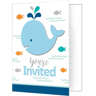 8 Einladungskarten Happy Baby Wal Party Blau
