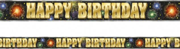 Folien Banner Happy Birthday Feuerwerk 3, 65m