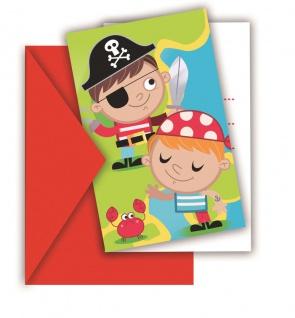 6 Einladungskarten Piraten Kinder