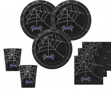 48 Teile Halloween Deko Set Spinnen Netz für 16 Personen