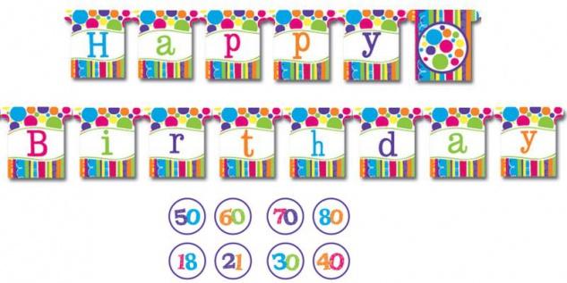 Geburtstags Girlande bunte Punkte und Streifen mit Zahlenaufkleber 18-80
