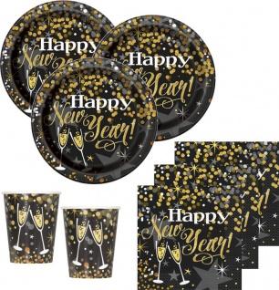 48 Teile Silvester und Neujahrs Glittering Gold Happy New Year Deko Set 16 Personen
