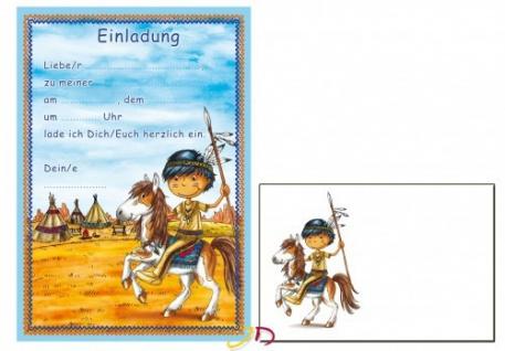 12 Einladungskarten Apache oder Sioux