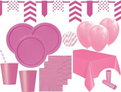 XL 85 Teile Party Deko Set Helles Pink für 16 Personen