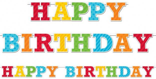 bunte Geburtstags Girlande am Satinband Happy Birthday - Vorschau