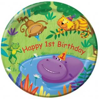 8 Papp Teller 1. Geburtstag Dschungel