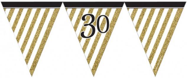 Wimpelkette 30. Geburtstag Black and Gold