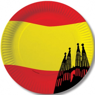 10 Papp Teller Spanien Party Deko