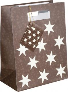 Geschenktüte mit Henkel in Braun mit beigen Sternen