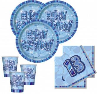 32 Teile zum 13. Geburtstag Party Set in Blau für 8 Personen