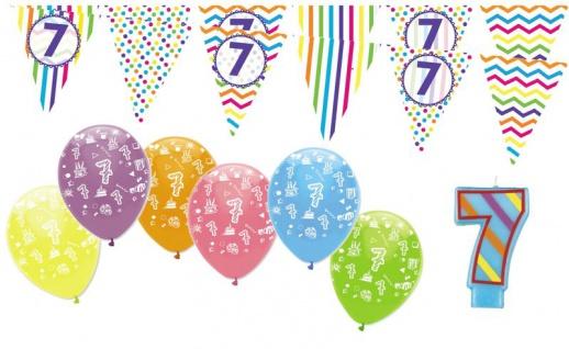7. Geburtstag Girlande + Luftballons + Kerze Deko Set - Sieben