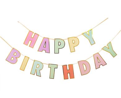 Geburtstags Girlande Pastell mit Gold folierter Schrift