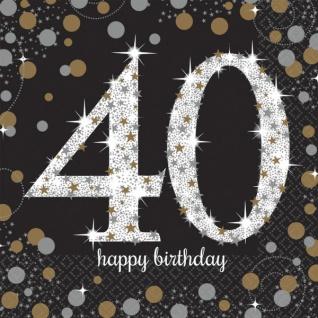 48 Teile zum 40. Geburtstag Gold Glitzer für 16 Personen - Vorschau 3