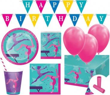 XL 63 Teile Turnen Geburtstags Party Deko Set für 8 Kinder