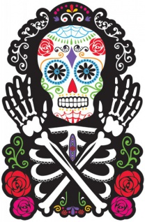 Day of the Dead Totenkopf Pappschild 38cm