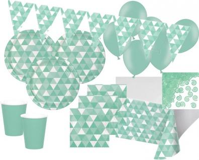 XXL 45 Teile Party Deko Set Mint Fractals für 8 Personen - Vorschau 1