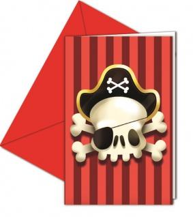 6 Einladungskarten Piraten Jolly Roger Totenkopf