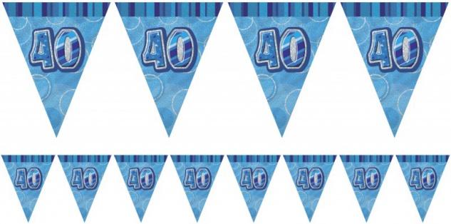 40. Geburtstag Wimpel Girlande Glitzer Blau