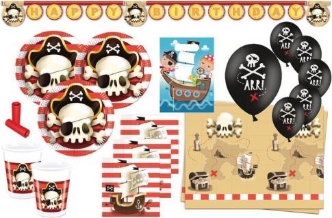 XL 57 Teile Piraten Jolly Roger Totenkopf Party Deko Set 8 Kinder