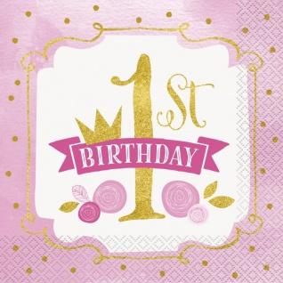 48 Teile Erster Geburtstag Rosa und Gold Party Deko Set 16 Personen - Vorschau 4