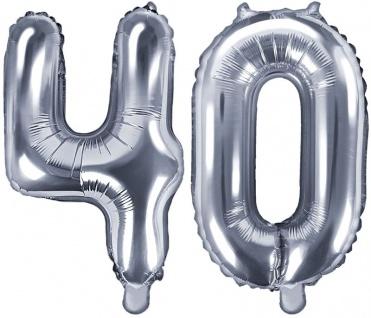 Folienballons Zahl 40 Silber Metallic 35 cm