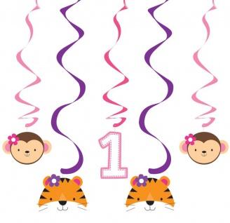 5 hängende Girlanden Geburtstag im Zoo Rosa