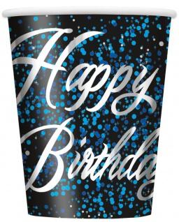 8 Happy Birthday Becher in Schwarz Blau foliert