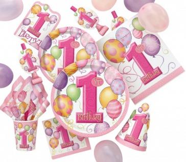 8 kleine Papp Teller Erster Geburtstag rosa Ballons - Vorschau 3