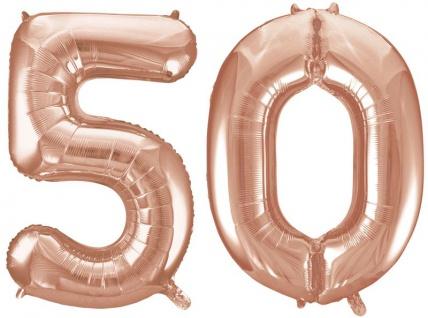 Folien Ballon Zahl 50 in Rosegold - XXL Riesenzahl 86 cm zum 50. Geburtstag