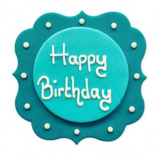 Zucker Plakette Happy Birthday Türkis und Weiß 7, 5 cm