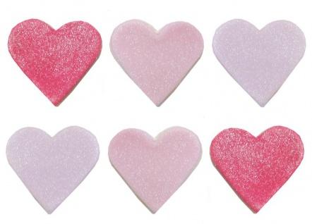 6 Glitzer Zuckerfiguren pinke und lila Herzen