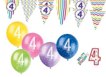 4. Geburtstag Girlande + Luftballons + Kerze Deko Set mit Kuchen Stecker