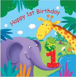 16 Servietten 1. Geburtstag Dschungel