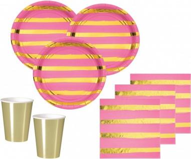 32 Teile Deluxe Party Deko Set Pink & Gold Glanz gestreift für 8 Personen