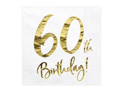 20 Servietten zum 60. Geburtstag in Weiß Gold foliert
