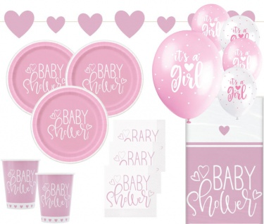 XL 39 Teile Baby Shower Herzchen in Rosa Party Deko Set für 8 Personen