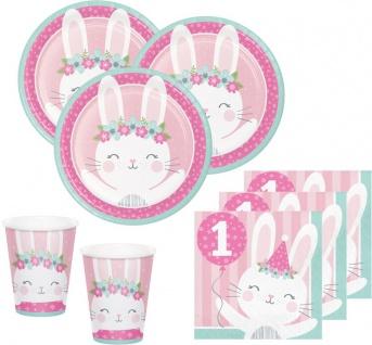 32 Teile rosa Häschen Party Deko Set zum 1. Geburtstag für 8 Personen