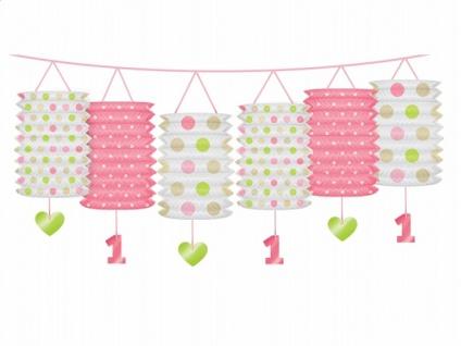 Erster Geburtstag Papier Laternen Girlande rosa