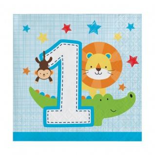 16 kleine Servietten 1. Geburtstag im Zoo Blau