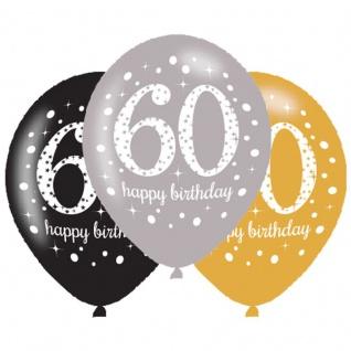 6 Luftballons Gold und Silber 60. Geburtstag