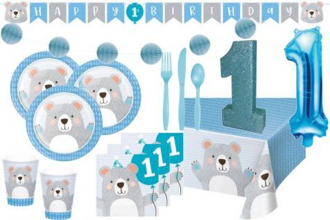 XXL 61 Teile blaues Bärchen Party Deko Set zum 1. Geburtstag für 8 Personen